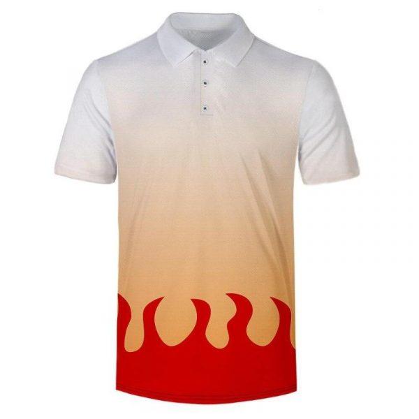 Demon Slayer Polo Shirt  Kyojuro Rengoku Pattern