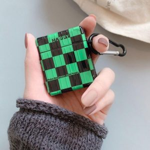 Demon Slayer Airpod Case Tanjiro Checkered Pattern