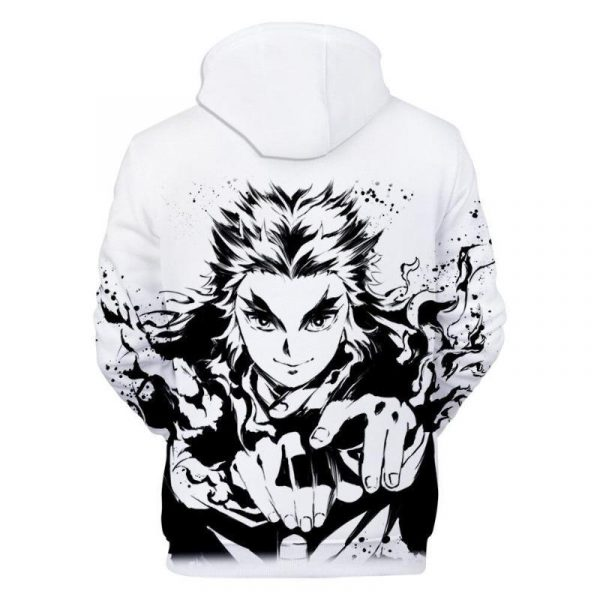 Demon Slayer Hoodie Rengoku Black & White