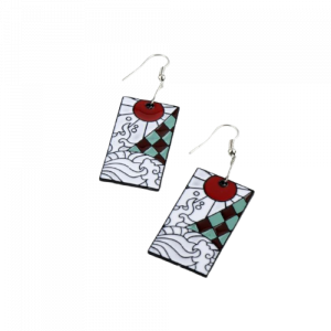 Demon Slayer Tanjiro Hanafuda Earrings